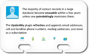The majority of contact records in a large database become unusable within a few years unless one painstakingly maintains them. The Updentity plugin refreshes and appends email addresses, cell and landline phone numbers, mailing addresses, and more as a subscription.